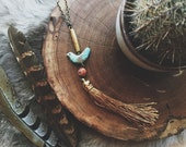 Teal Bird Fringe Tassel Necklace in Coffee
