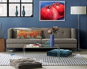 Original oil painting POMEGRANATES fruit painting red and blue still life oil on canvas modern artwork by Elisaveta Sivas