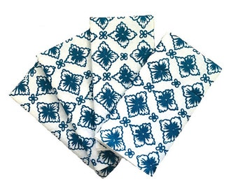 Blue Flora linen napkins (set of 4)
