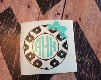 Monogram decal, laptop decal, bow decal, leopard decal, leopard print decal, personalized decal, computer decal, vinyl decal, Monogram gifts