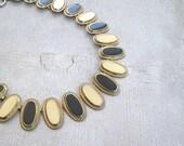 Vintage Enamel Bib Necklace, Mid Century Beige Blue Oval Plate Necklace, Mad Men Inspired Mod Elegant Jewelry, Christmas Woman gift under 50