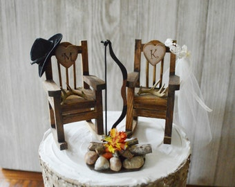 wood rocking chair hunting bow and arrow wedding cake topper deer hunter groom bride country wedding riffle shotgun camping fire pit Mr &Mrs