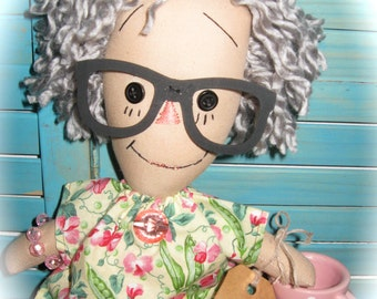 Primitive Raggedy Doll Grey Hair Nanna Grandmother Doll with China Cup