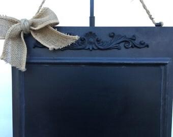 Wreath Alternative. Hanging Chalkboard Sign. Burlap Bow. Year Round Decor. Metal Blackboard. Write your own message. Wedding Chalkboard