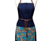NEW Denim and Wax Print Bib Aprons with Leather Straps (Turquoise DELTA)