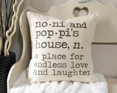"18"" Definition of Grandma and Grandpa's House Pillow - Customize Names and Definition - Grandparent Pillow - Dictionary Inspired Cushion"