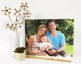 """11x14"""" Customizable Picture Block - Wood Mounted Canvas w/ Nails - Photo Block - Family Photo Canvas - Housewarming Gift - Wall Decor"""