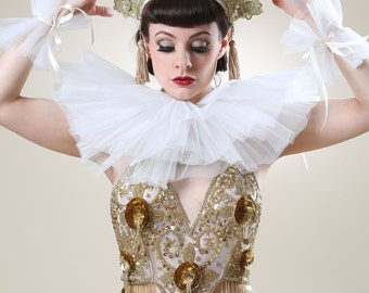 Tulle Victorian Doll Neck Ruff
