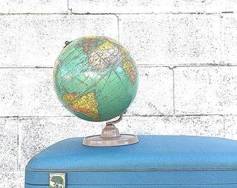 Blue SUITCASE | Mid-Century Luggage | Large Vintage Oshkosh Spaceflight Suitcase | Retro Wedding Card Case | Photo Prop | Storage & Display