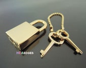 Padlock - 1pc Finding Polished Gold Padlock With 2 Keys 33mm x 15mm (Inside 8mm)