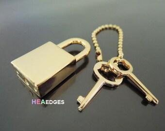 Padlock - 1pc Finding Polished Gold Padlock With 2 Keys 33mm x 15mm (Inside 8mm)