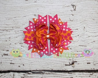 Pink and Orange Hair Bow