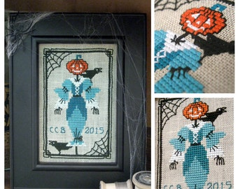 Halloween Cross Stitch Pattern Scarecrow Jack o Lantern Embroidery Download or Paper Chart