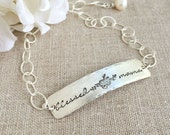 Personalized Bracelet . Floral Bracelet . Mother Bracelet . Mama Bracelet . Blessed . Faith Jewelry . Christmas Gift . Gift For Mom