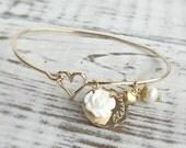 Blessed Gold Bangle Charm Bracelet . bangle bracelet . charm bracelet . blessed bracelet . faith bracelet . gold bangle . gold bracelet