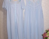Size XL - 2 Piece Vintage Robe and Nightgown Set - from Barbizon- Powder Blue - Below Knee Length - 100% Polyester Knit