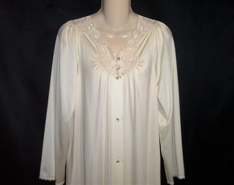 Size Small - Vintage Robe - from Shadowline - Peignoir - Dressing Gown - Full Length - Creamy Champagne - Nylon - Made in USA - Elegant