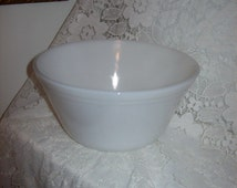 "Vintage White Milk Glass 8"" Kitchen Mixing Bowl Ovenware 'F' by Federal Only 6 USD"