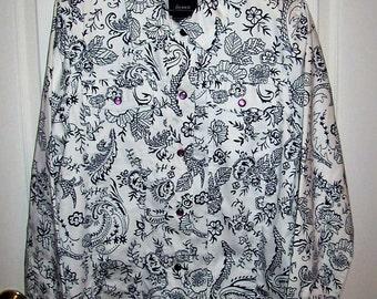 Vintage Ladies Black & White Floral Jacket by Dennis Basso Medium Only 10 USD