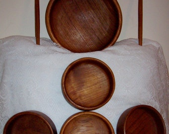 Vintage Teak Wood Salad Bowl Set w/ Utensils by Dolphin Mid Century Modern Only 16 USD
