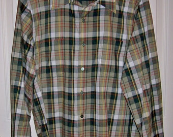 SALE 50% Off Vintage 1970s Men's Olive Green Plaid Shirt by JC Penney Medium Now 2.50 USD