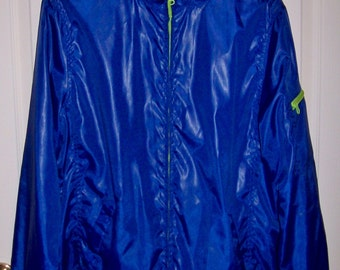 Vintage Ladies Royal Blue Zip Front Windbreaker Jacket by Faded Glory Large Only 8 USD