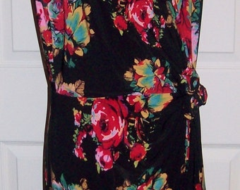 Vintage Ladies Black Floral Print Dress by Jones New York Size 12 Only 14 USD