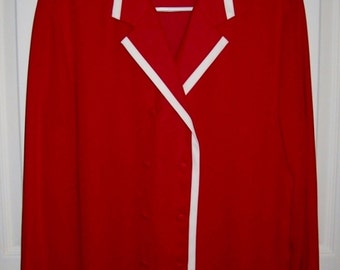 Vintage Ladies Red Blouse w/ White Trim by Liz Claiborne Size 10 Only 5 USD