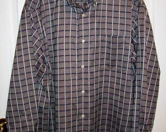 SALE 50% Off Vintage Men's Gray White & Black Plaid Shirt by Talbots Extra Large Now 2.50 USD