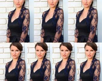 Bridesmaid Cover Ups- Set Of 7 Navy Blue Lace Wedding Loop Shawls. 4 Wearing Options- Shawl, Shrug, Crisscross And Scarf. Wedding Wrap DL125