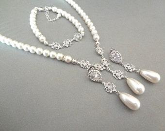 Pearl jewelry set - Swarovski pearls and crystals ~ 3 piece set ~ Pearl Bracelet, Earrings, Necklace - Bridal jewelry set ~ ELIZABETH