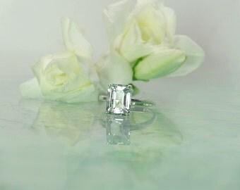 Emerald Cut Engagement Ring, Emerald Cut Silver Ring, Emerald Cut Sterling Ring, Herkimer Diamond, Natural Gemstone