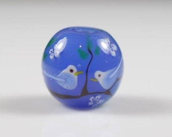 Pair of Large Round Blue Flowers Birds Lampwork Glass Beads Set of 2