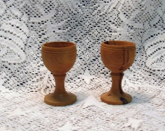 2 Vintage Handmade Wooden Egg Cups or Cordials