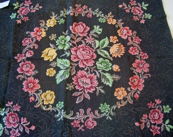 Vintage Tapestry Fabrick 100% Cotton from Belgium Floral Black Background