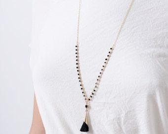 Tassel Necklace, Long Black and Gold Tassel Necklace, Gold long necklace,Long Gold necklace,necklace tassel, Gold Chain, tassel, beaded