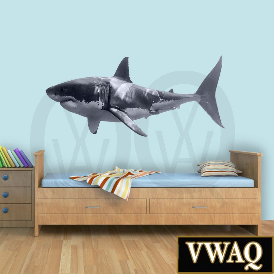 great white shark wall decal shark wall decor realistic shark. Black Bedroom Furniture Sets. Home Design Ideas