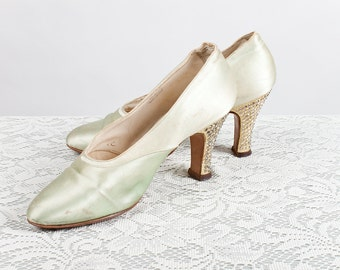 Vintage 1920s Seafoam Green Satin Heels with Gold Glitter and Rhinestone Heels