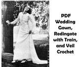 PDF Vintage Redingote Crochet Pattern Half Coat with Court Train plus Knitted Wedding Gown and Veil 1970s Bride Bridal Ensemble Pattern