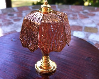 Copper Shade on Brass Miniature  Lamp,Copper Shade,  Dollhouse Piece