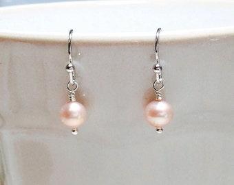 Pink Pearl Earrings Wedding Jewelry Bridesmaid Earrings Stocking Stuffer Christmas Gifts Dangle Earrings Women's Gift