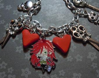 Grell Bracelet, Black Butler, Anime, Anime Jewelry, Grell Sutcliff, Charm Bracelet