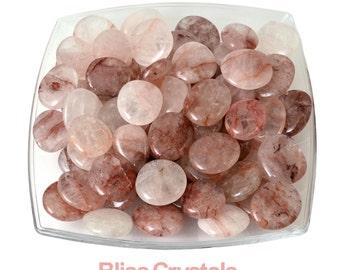 "1 Natural Pink Strawberry QUARTZ Palm Stone 1.2"" - 1.3"" Flat Tumbled Stone Madagascar Hematoid Quartz Harlequin Healing Crystal Stone #WB2"