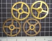 Mixed Lot of 4 Brass Clock Gears, Antique Clock Mechanism Gears, Vintage Clockwork Wheels, Cogs Steampunk Art Supplies 04000