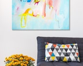 Original abstract painting Large art Expressionist pastel light blue with pink and yellow Canvas Painting by Duealberi