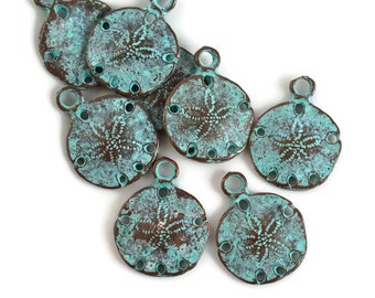 6 Mykonos Sand Dollar Charm - 20mm Green Patina - Greek Verdigris Beads