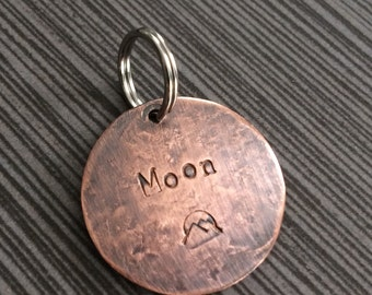 """Rustic Copper Dog Tag - 1"""" Round Pet ID or Nametag - Custom Stamped and Personalized Pet Name Tag"""