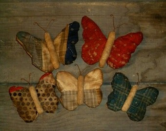 Primitive Butterfly bowl fillers, made from vintage and antique quilts - set of 5