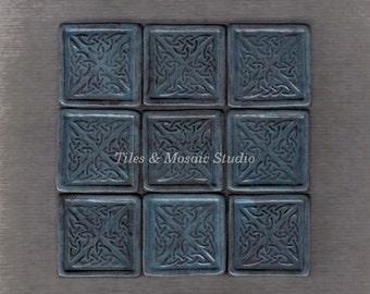 9 pieces Antique dark blue Celtic designed square tiles - 1.2 inch/piece - made to order