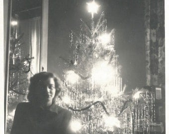 """Vintage Photo """"Reflection"""" Christmas Tree Lights In Mirror - Tinsel - Christmas Decor - Black and White Found Original Photograph"""